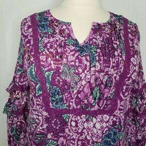 Style & Co Tops - Style&Co Purple Floral-Print Tiered-Sleeve Top